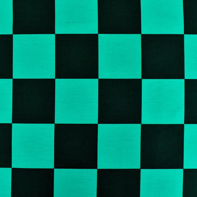 生地 和柄ブロードプリント 市松模様(99078) 1A.黒×緑 (H)_ki_ ...