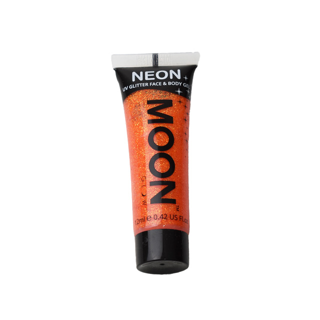 フェイス&ボディ用ジェル MOON Neon Glitter Face and Body Gels (M7018) Orange (H)_3a_