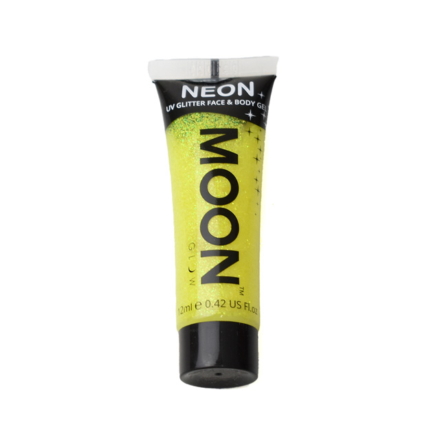 フェイス&ボディ用ジェル MOON Neon Glitter Face and Body Gels (M7032) Yellow (H)_3a_