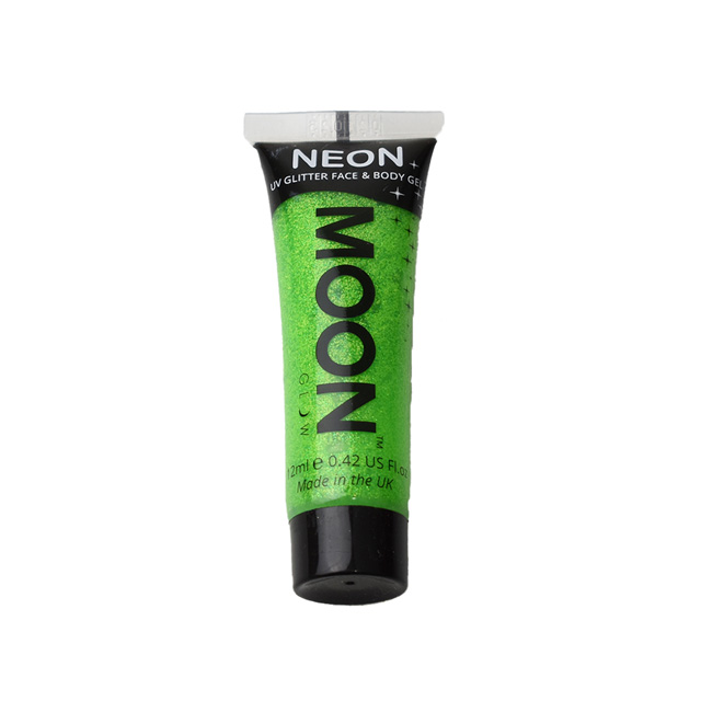 フェイス&ボディ用ジェル MOON Neon Glitter Face and Body Gels (M7049) Green (H)_3a_